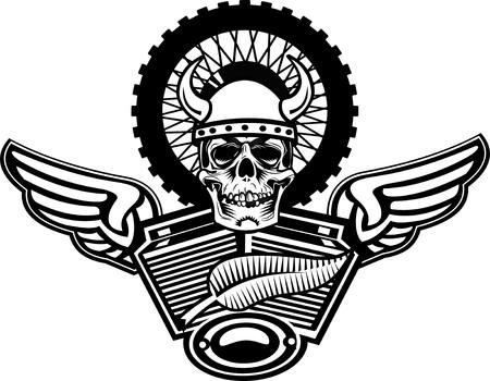 tough man: Skull motorcycle engine. Skeleton and Motorbike