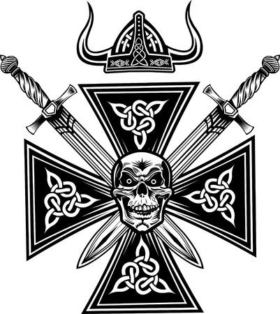 vikingo: Cráneo Vikings con la espada Vectores