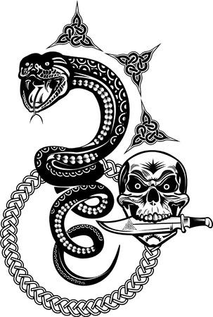 king cobra: Snake Tattoo and Skull Illustration
