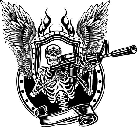 Esqueleto disparar un rifle.