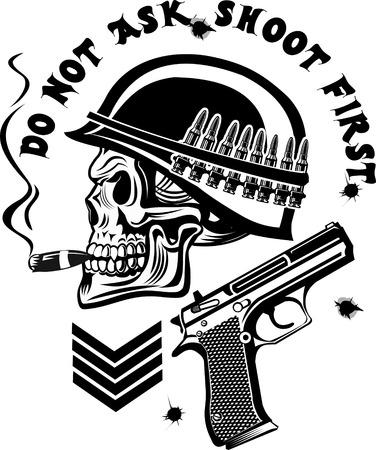 skull drawing: Skeleton in helmet with guns cartridges and pistols Illustration