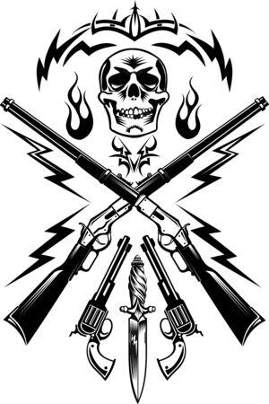 pistols: Skull, guns: pistols and Rifle