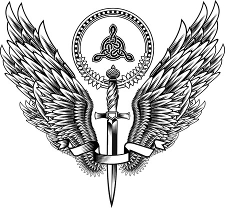 engel tattoo: Schwert mit Flügeln Illustration