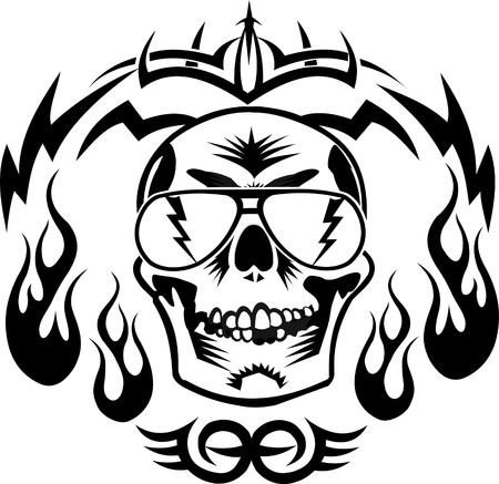 Tatuaje del cráneo en el fuego
