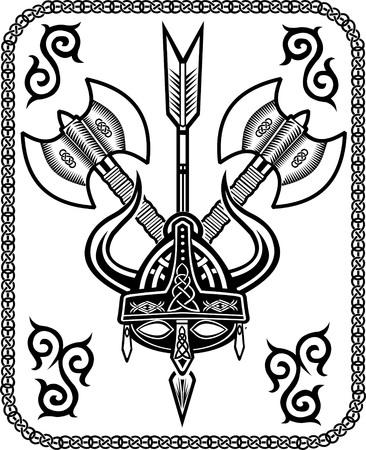 vikingo: Casco de Viking flecha hacha
