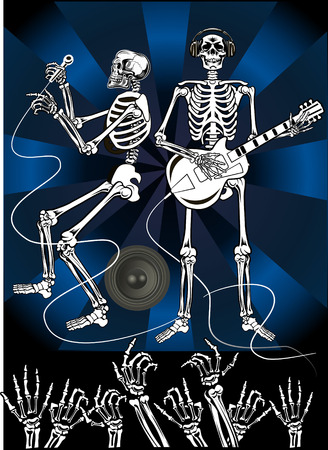 skeleton hand: Skeleton music DJ and party Illustration