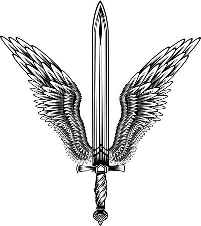 sword with wings Stock Illustratie