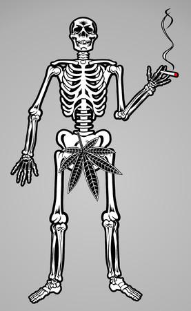 rastaman: Skeleton of rastaman with cannabis leaf Illustration