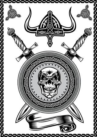 vikingo: Cr�neo del casco de Viking con la espada Vectores