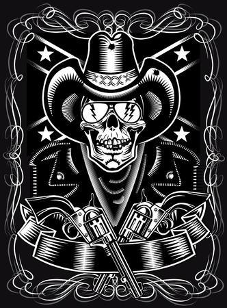 cowboy rope: Cowboy Skull and Revolver