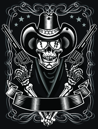 Cowboy Schedel en Revolver Stock Illustratie