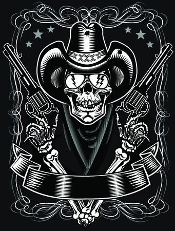 Cráneo del vaquero y Revolver