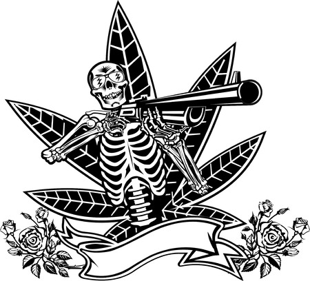 flashes: Skull, guns and roses Illustration
