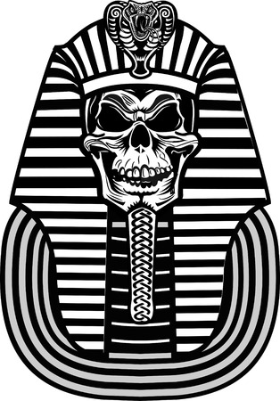 egyptian mummy: Pharaoh Skull Illustration