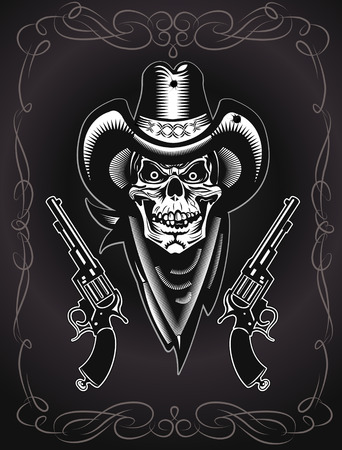 outlaw: Cowboy Skull and Revolver