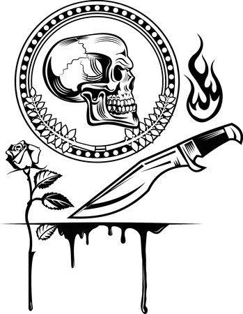 space wars: skull dagger knife  and rose Illustration