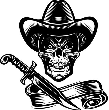 outlaws: Cowboy skulls and knife Illustration