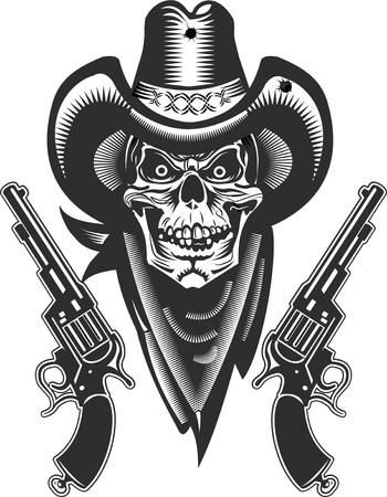 classic tattoo: Cowboy Skull and Revolver