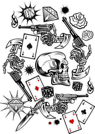 ardour: Skulls with playing cards and Guns. Vector illustrations.