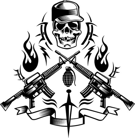 Cráneo del tatuaje de combate