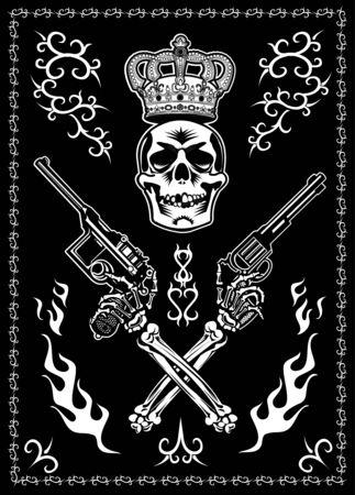 Skull, guns and fire Illustration