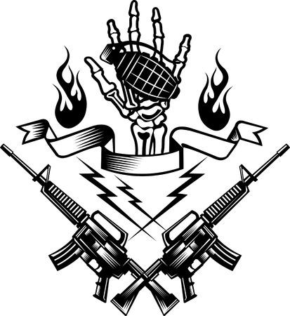 de hand bot bezit zijn van een granaat bom Vector Illustratie