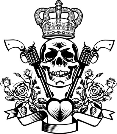 tattoo Skull, guns and roses with crown