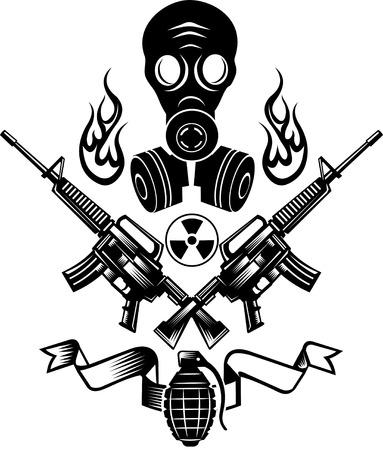 Armas de fuego y bomba granada. máscara de gas de combate tatuaje