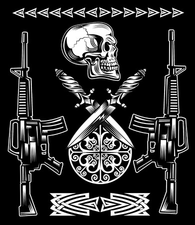 skull drawing: The vector image of skull with the rifles and daggers Illustration