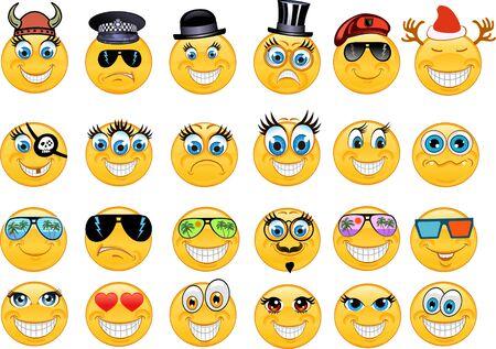 Vector Stil Lächeln Gesicht Symbole
