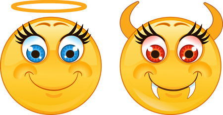 male female: Emoticon angel and devil smiley