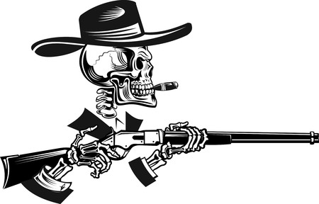 old rifle: Skeleton with Old Rifle