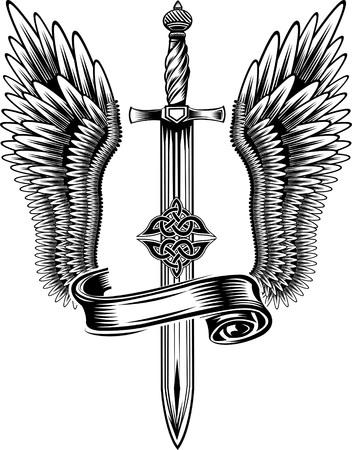 tatouage ange: �p�e avec des ailes Illustration