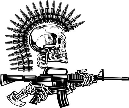 Esqueleto con cartuchos de pistolas y un rifle Ilustración de vector