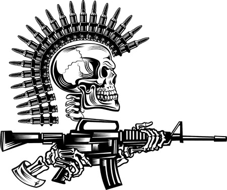 skull drawing: Skeleton with guns cartridges and Rifle