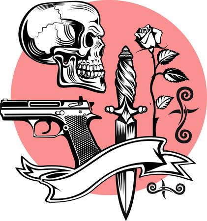 creeps: Skull, guns, knife and roses Illustration