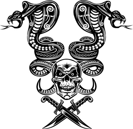 venomous snake: Snake Tattoo Cobra Skull and Dagger Illustration