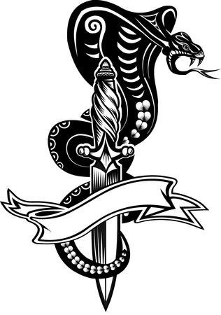 ヘビの入れ墨コブラと短剣  イラスト・ベクター素材