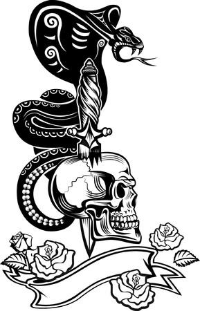 dagger tattoo: Skull with Snake Tattoo Cobra and Dagger