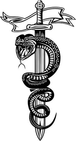 king cobra: Snake Tattoo & Sword