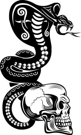 Snake Tattoo Cobra and Skull Illustration