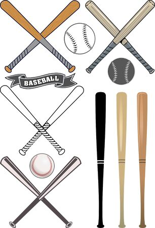 outfield: crossed baseball bats and ball set