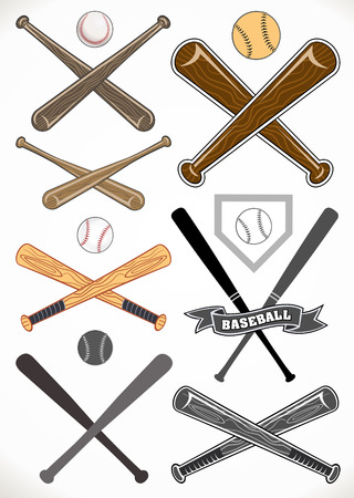 outfield: crossed baseball bats and ball sets Illustration