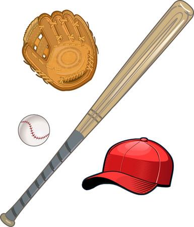 guante de beisbol: guante de b�isbol, pelota y bate