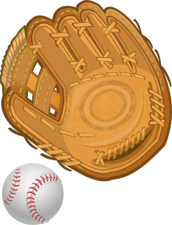 guante de beisbol: Guante de b�isbol con la bola