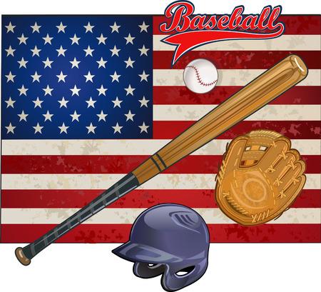 baseball: Bandera americana y la bandera de béisbol campeón de béisbol EE.UU.