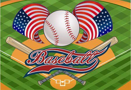 infield: Baseball stadium. Open Baseball tournament. USA flag