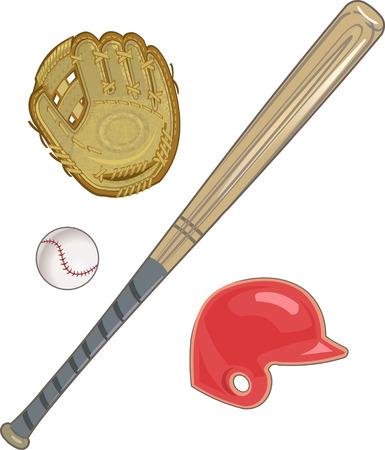 guante de beisbol: guante de b�isbol, pelota y bate, mit�n, casco