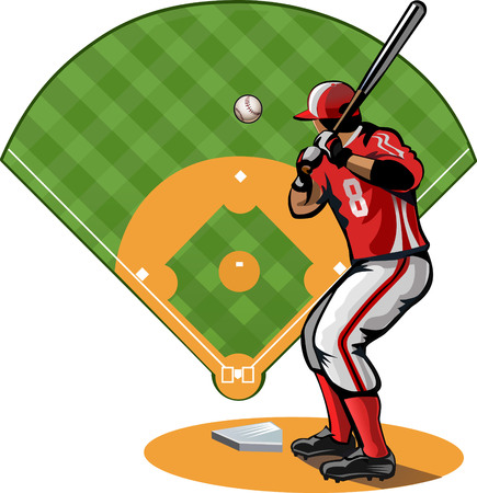 fastball: Baseball player and field Illustration