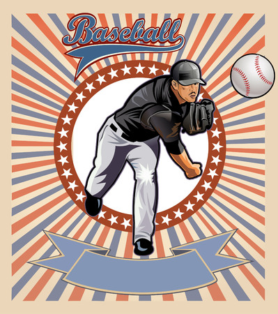 baseball pitcher: Baseball pitcher throws ball. Square shot. Illustration